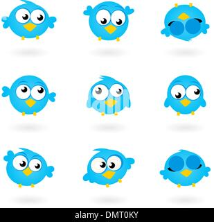 Cute blue vector Twitter Birds icons collection isolated on white