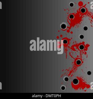 Gunshot blood splatter border background - Stock Photo