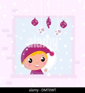 Cute Christmas Child looking on Snow through Window - Stock Photo