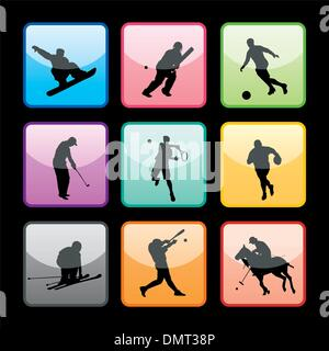 9 Sport Buttons Set - Stock Photo