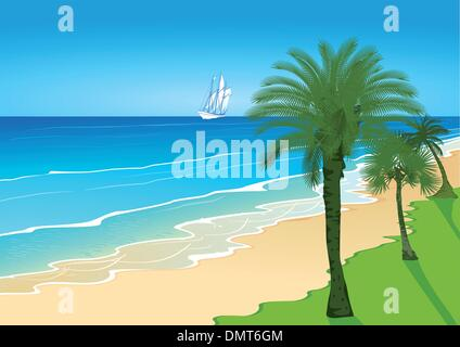 Beach with palm trees and sailing ship - Stock Photo