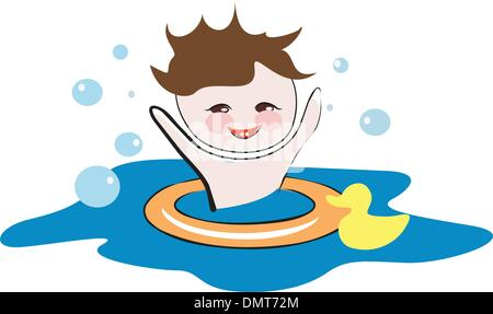 Happy child playing in a water - Stock Photo