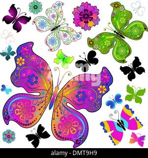 Set colorful and black butterflies - Stock Photo