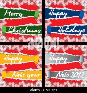 4 Christmas and New Year greeting cards - Stock Photo