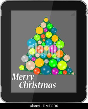 Christmas card in smartphone isolated on a white background - Stock Photo