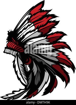 American Native Indian Feather Headdress Mascot Vector Graphic - Stock Photo