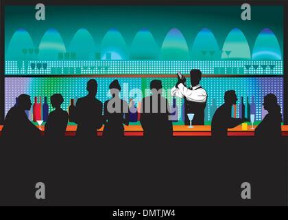 Bar and bartender - Stock Photo