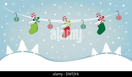 Hanging Stockings in Snow - Stock Photo