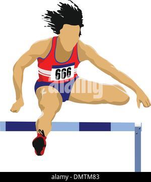 Man running hurdles. Vector illustartion - Stock Photo