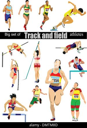 Big cet of Track and field athletes. Vector illustration. - Stock Photo