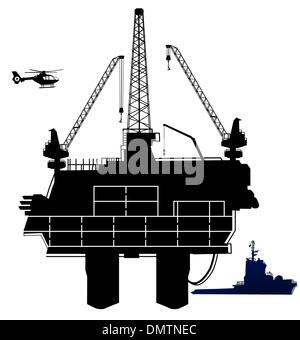 oil drilling rig, in offshore area - Stock Photo