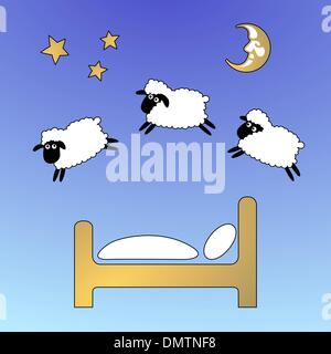 sheep on the sky jumping fence - Stock Photo
