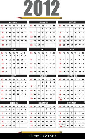 2012 calendar with flower image. Vector illustration - Stock Photo