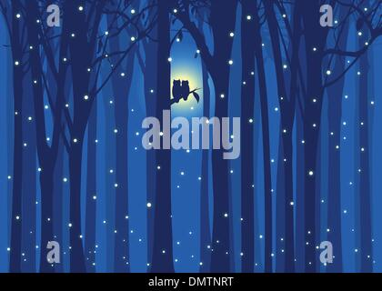 Winter illustration love owl in snowing forest - Stock Photo
