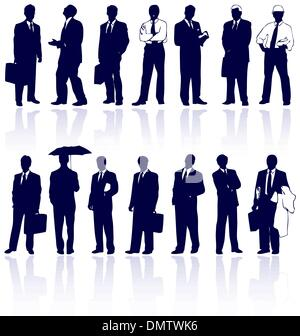 Set of vector business people silhouettes with reflections. - Stock Photo