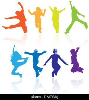Boys and girls jumping vector silhouette with reflections. - Stock Photo