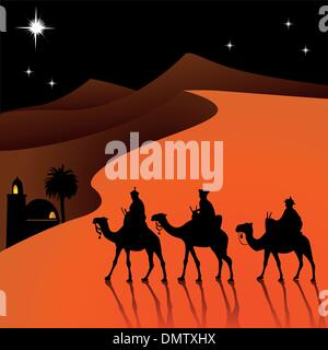 Classic three magic scene and shining star of Bethlehem. - Stock Photo