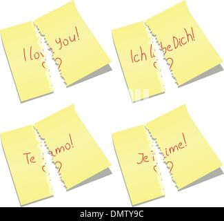 vector torn paper notes with I love you words - Stock Photo