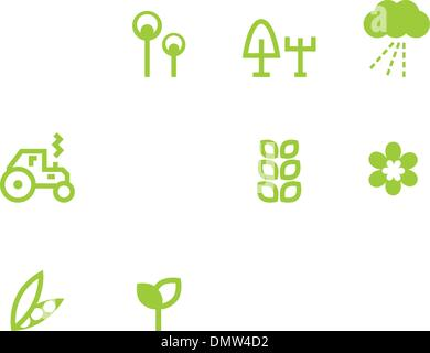 Agriculture & farming icons set isolated on white ( green ) - Stock Photo