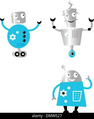 Cute retro robots set isolated on white ( blue and metal ) - Stock Photo