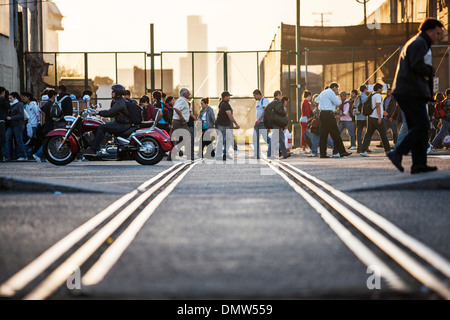 Rush hour in Buenos Aires, at the station Av Dr Jose Maria Ramos Mejia, Buenos Aires, Buenos Aires Province, Argentina - Stock Photo