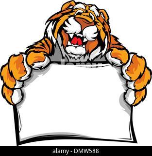 Tiger holding a sign. Vector Illustration Stock Vector Art ...
