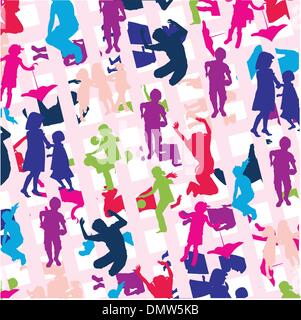 many kids jumping and playing on background - Stock Photo