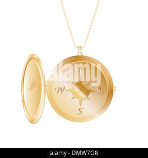 gold pendant with wind rose - Stock Photo