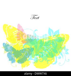 card with butterflies and flowers - Stock Photo