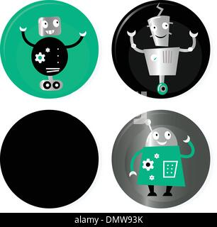 Cute retro robots badget collection isolated on white - Stock Photo