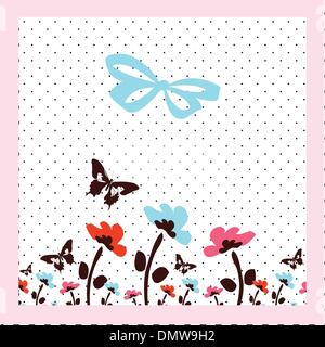 card with flowers and butterflies - Stock Photo
