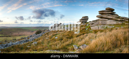 Granite slabs making up a tor at Stowes Hill on Bodmin Moor in Cornwall near the Minions - Stock Photo