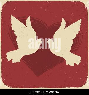 Two lovers doves. Retro styled illustration, vector, EPS10 - Stock Photo