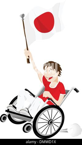 Japan Sport Fan Supporter on Wheelchair with Flag - Stock Photo