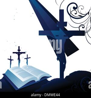 Holy bible and jesus on the cross background - Stock Photo