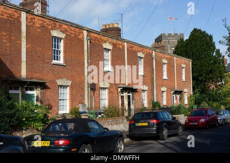 A terrace of Georgian brick houses homes in Church Street, Westbury, Wiltshire. - Stock Photo