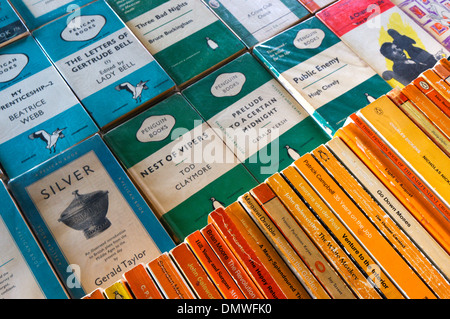 Modern and old Penguin books for sale on a stall on London's South Bank. - Stock Photo