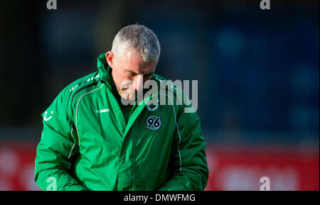 hanover, Germany. 17th Dec, 2013. Hannover's head coach Mirko Slomka is pictured during a training session of Bundesliga - Stock Photo