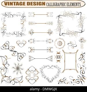 decorative ornate design elements calligraphic page decorations - Stock Photo