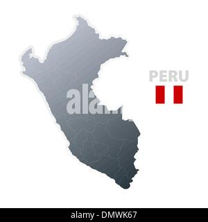 Peru map with official flag - Stock Photo