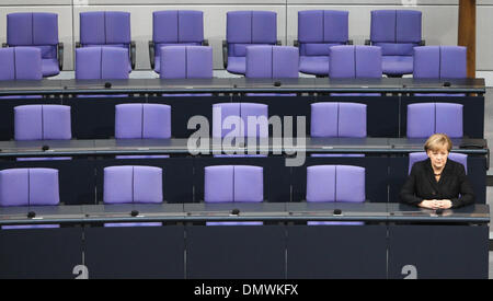 Berlin, Germany. 17th Dec, 2013. German Chancellor Angela Merkel sits on the government bench after her swearing - Stock Photo