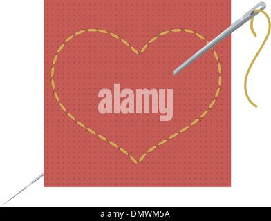 Vector illustration of the heart, needle and thread - Stock Photo