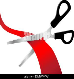 Scissors cut red grand opening ribbon - Stock Photo