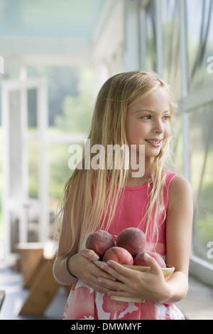 A young girl holding an armful of fresh peaches. - Stock Photo