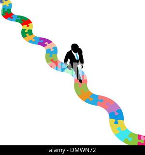 Business person walks on puzzling path to solution - Stock Photo
