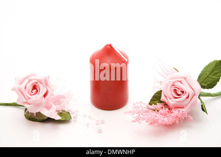 Wax candle with rose - Stock Photo