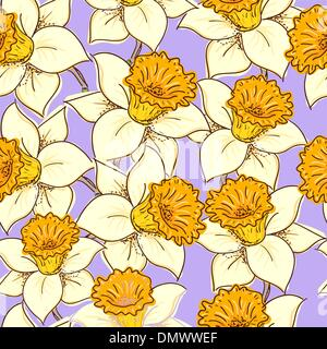 Seamless pattern with daffodil - Stock Photo