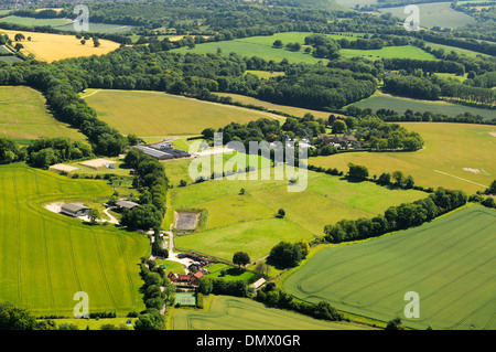 Aerial view of summer fields in Hampshire, England - Stock Photo