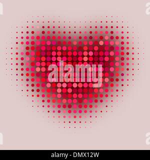 Red color halftone heart shape - Stock Photo