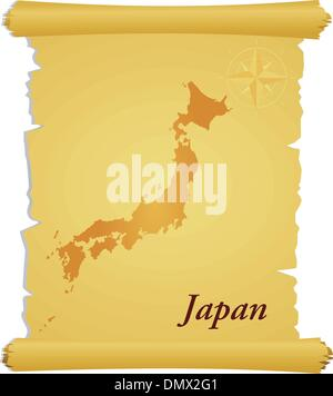 Vector parchment with a silhouette of Japan - Stock Photo